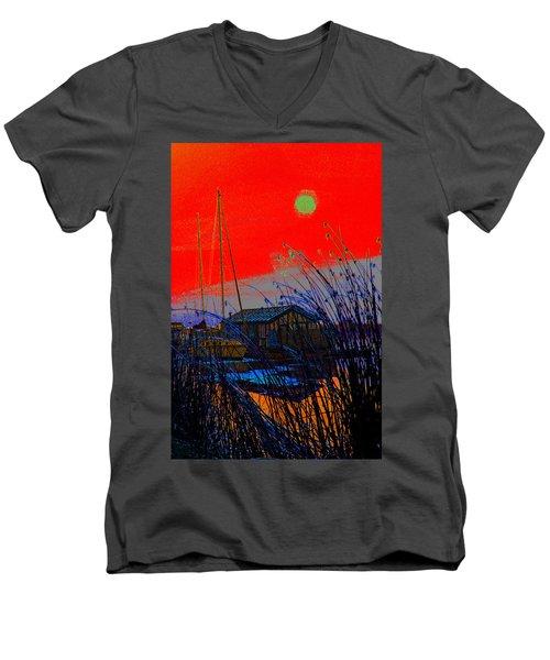 A Digital Marina Sunset Men's V-Neck T-Shirt