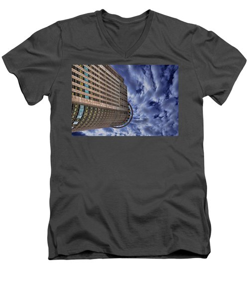 Men's V-Neck T-Shirt featuring the photograph A Drifting Skyscraper by Ron Shoshani
