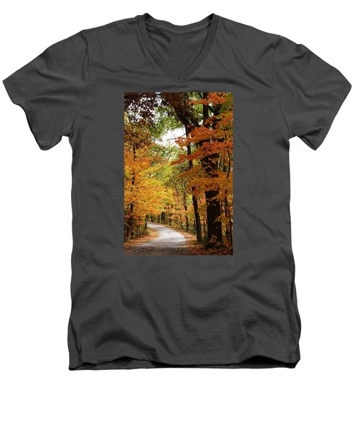 Men's V-Neck T-Shirt featuring the photograph A Drive Through The Woods by Bruce Bley