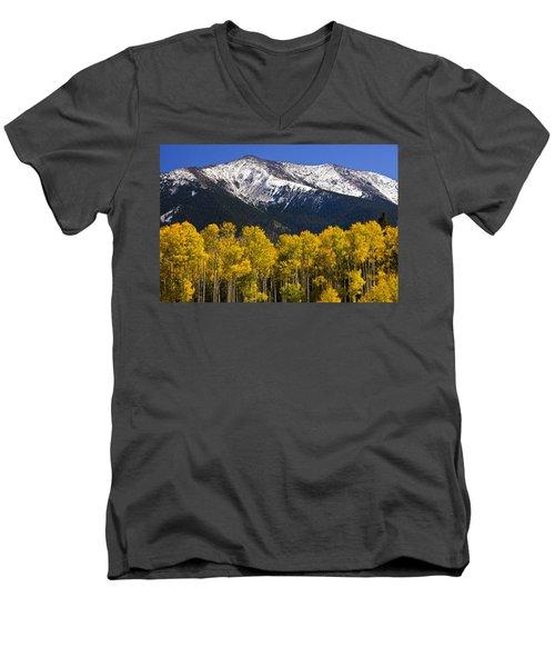 A Dusting Of Snow On The Peaks Men's V-Neck T-Shirt by Saija  Lehtonen