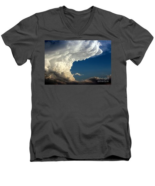 Men's V-Neck T-Shirt featuring the photograph A Face In The Clouds by Barbara Chichester