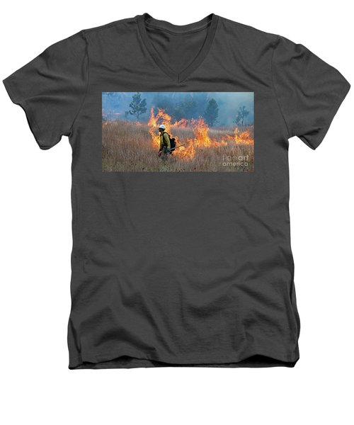 A Firefighter Ignites The Norbeck Prescribed Fire. Men's V-Neck T-Shirt