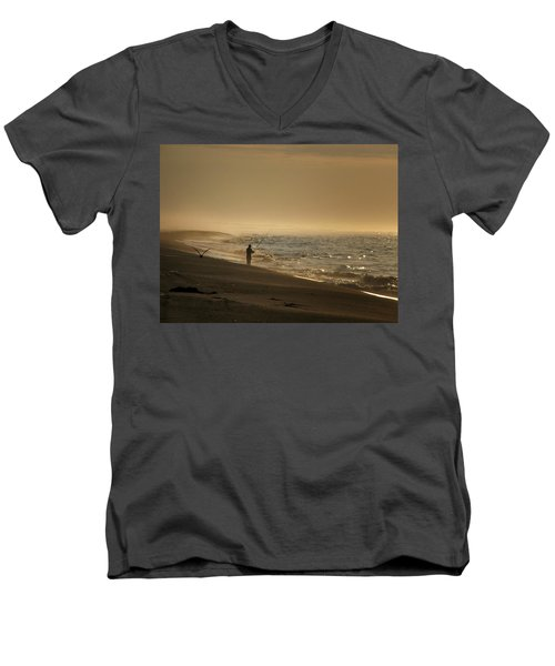 Men's V-Neck T-Shirt featuring the photograph A Fisherman's Morning by GJ Blackman