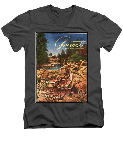 A Fishing Scene Men's V-Neck T-Shirt