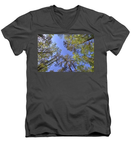 A Forest Sky Men's V-Neck T-Shirt by Gordon Elwell
