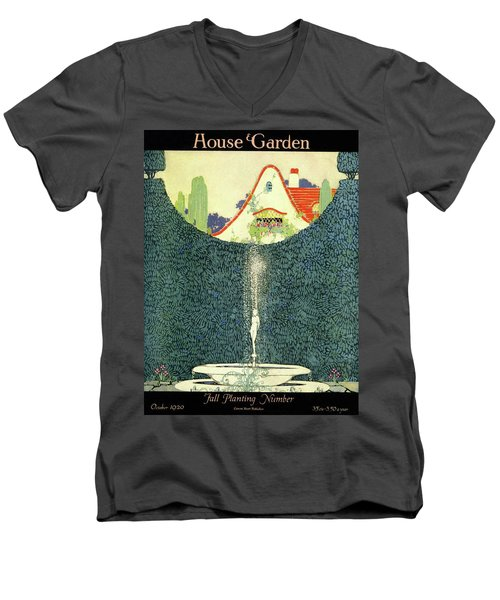 A Fountain With A Hedge In The Background Men's V-Neck T-Shirt