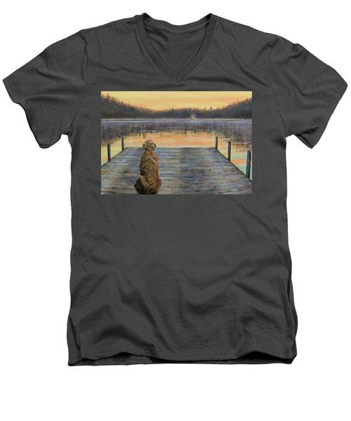 A Golden Moment Men's V-Neck T-Shirt by Susan DeLain