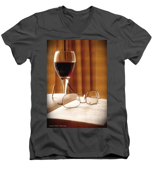 A Good Book And A Glass Of Wine Men's V-Neck T-Shirt by Lucinda Walter