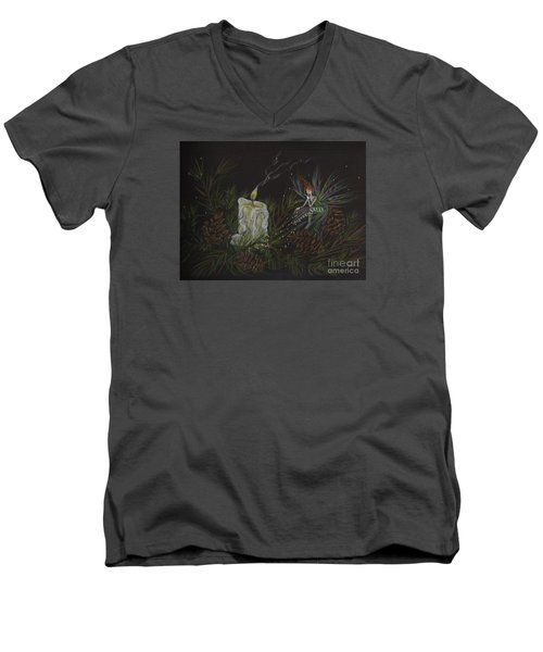 Men's V-Neck T-Shirt featuring the drawing A Good Long Think by Dawn Fairies