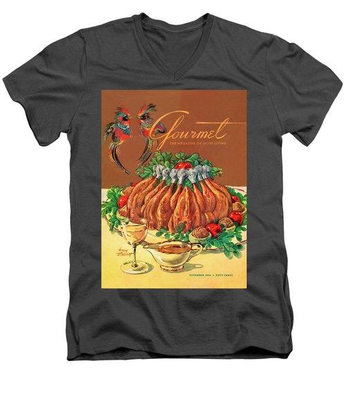 A Gourmet Cover Of Chicken Men's V-Neck T-Shirt by Henry Stahlhut