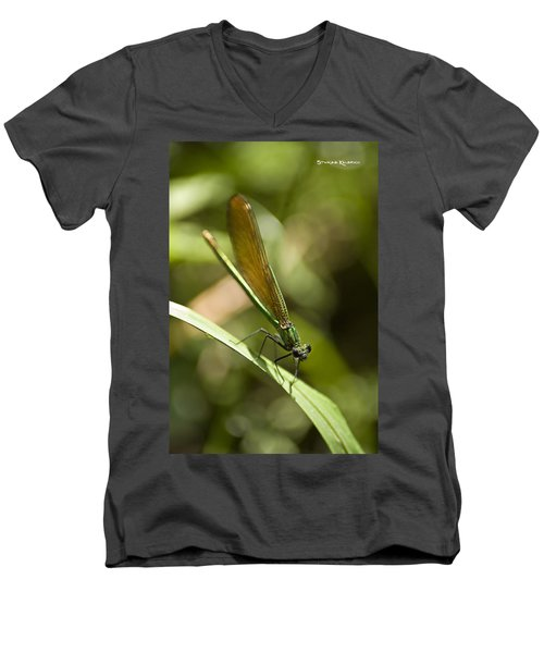 Men's V-Neck T-Shirt featuring the photograph A Green Dragonfly by Stwayne Keubrick