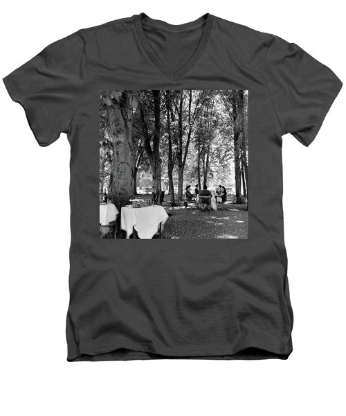 A Group Of People Eating Lunch Under Trees Men's V-Neck T-Shirt