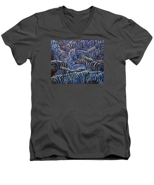 Men's V-Neck T-Shirt featuring the painting A Group Of Zebras by Xueling Zou