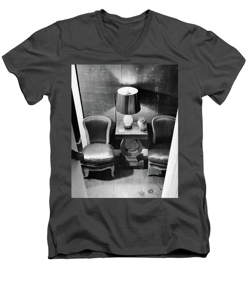 A Hallway With Blueprints Men's V-Neck T-Shirt