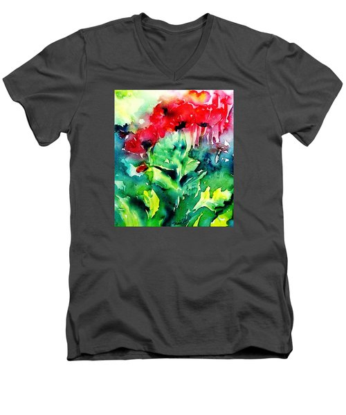 A Haze Of Poppies Men's V-Neck T-Shirt