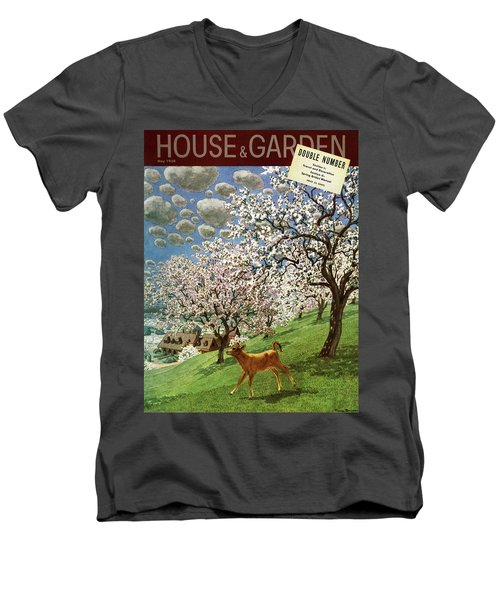 A House And Garden Cover Of A Calf Men's V-Neck T-Shirt