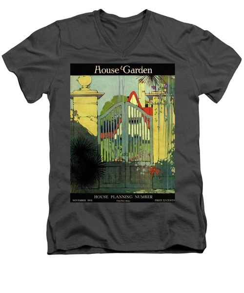 A House And Garden Cover Of A Gate Men's V-Neck T-Shirt
