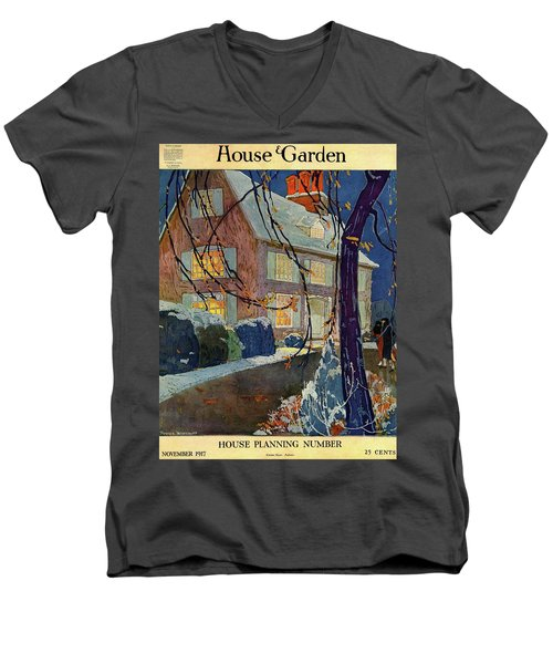 A House And Garden Cover Of A House In Winter Men's V-Neck T-Shirt
