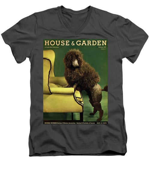 A House And Garden Cover Of A Poodle Men's V-Neck T-Shirt