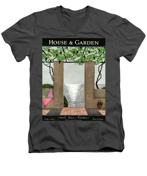 A House And Garden Cover Of A Seaside Patio Men's V-Neck T-Shirt