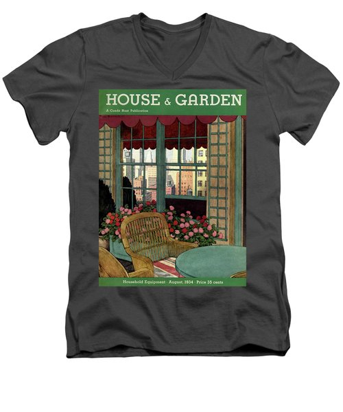 A House And Garden Cover Of A Wicker Chair Men's V-Neck T-Shirt