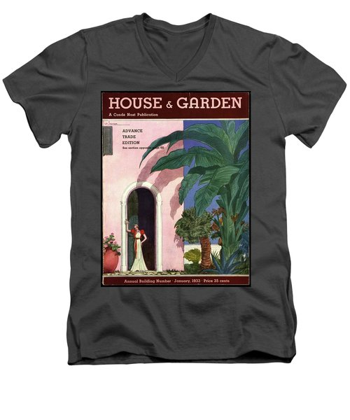A House And Garden Cover Of A Woman In A Doorway Men's V-Neck T-Shirt