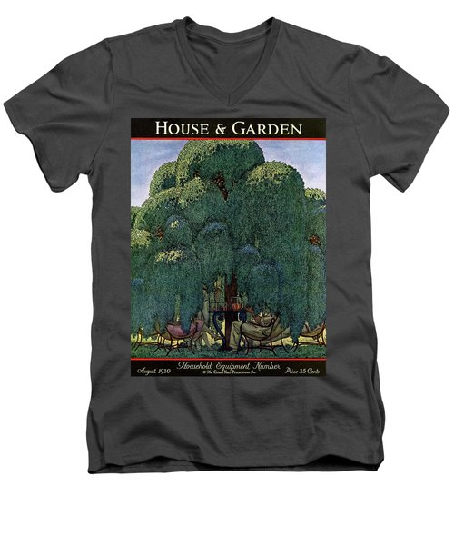 A House And Garden Cover Of People Dining Men's V-Neck T-Shirt