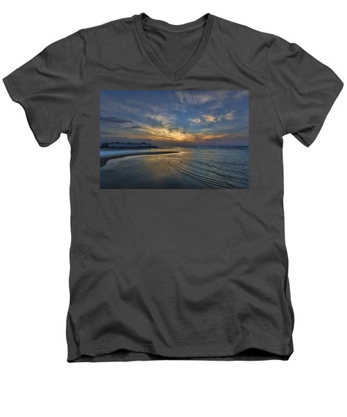 a joyful sunset at Tel Aviv port Men's V-Neck T-Shirt