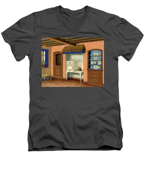 A Kitchen With An Old Fashioned Oven And Stovetop Men's V-Neck T-Shirt