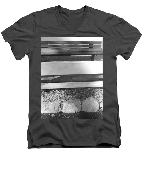 Men's V-Neck T-Shirt featuring the photograph A Layered  Reconstruction by Esther Newman-Cohen
