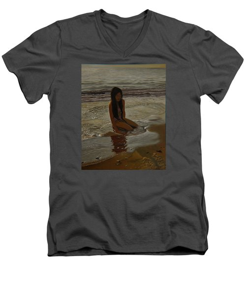 A Line Between Ocean And Sand Men's V-Neck T-Shirt by Thu Nguyen