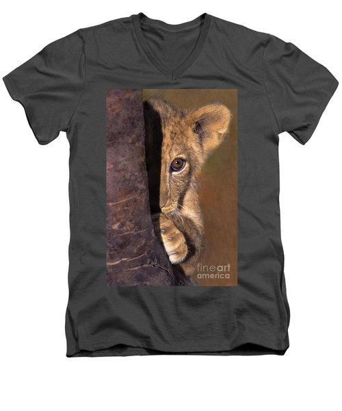 A Lion Cub Plays Hide And Seek Wildlife Rescue Men's V-Neck T-Shirt by Dave Welling