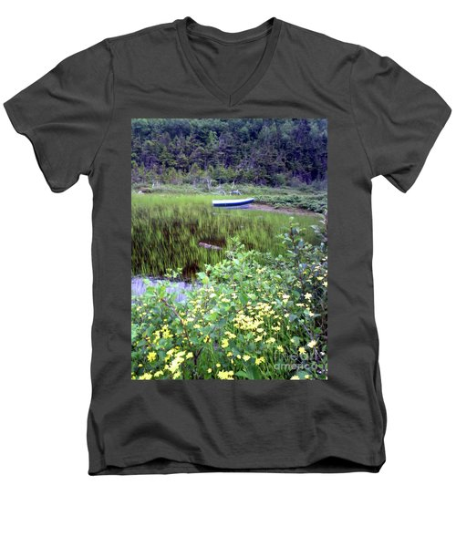 Men's V-Neck T-Shirt featuring the photograph A Little Flat Awaiting by Barbara Griffin
