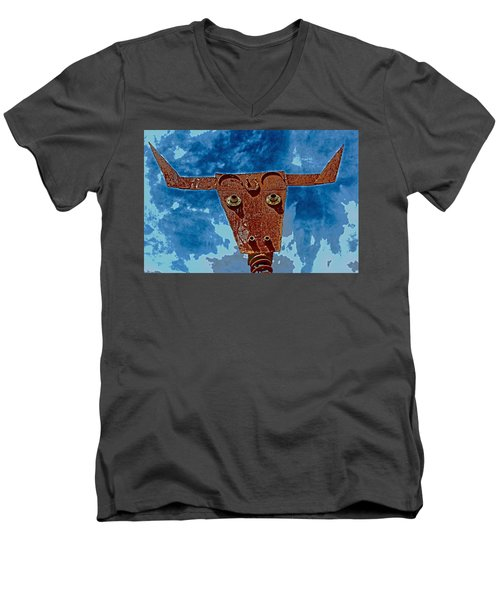Men's V-Neck T-Shirt featuring the photograph A Lucky Bull by Lynn Sprowl