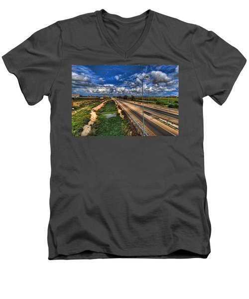 Men's V-Neck T-Shirt featuring the photograph a majestic springtime in Israel by Ron Shoshani