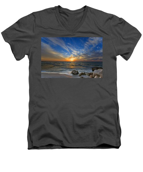 A Majestic Sunset At The Port Men's V-Neck T-Shirt