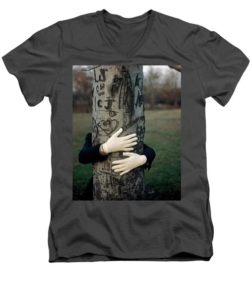 A Model Hugging A Tree Men's V-Neck T-Shirt