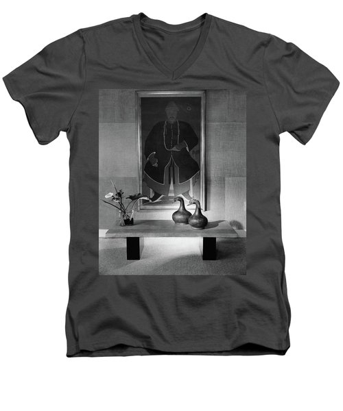 A Modern Table With An Oriental Painting Men's V-Neck T-Shirt