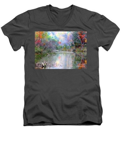 A Monet Autumn Men's V-Neck T-Shirt by Mariarosa Rockefeller