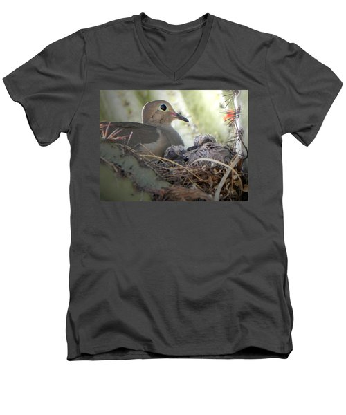Men's V-Neck T-Shirt featuring the photograph A Mothers' Love by Deb Halloran