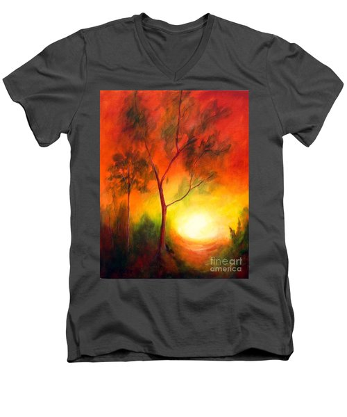 Men's V-Neck T-Shirt featuring the painting A New Day by Alison Caltrider