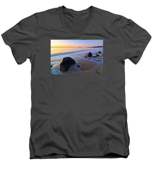 A New Day Singing Beach Men's V-Neck T-Shirt by Michael Hubley