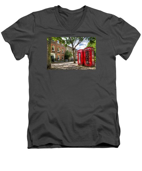 Men's V-Neck T-Shirt featuring the photograph A Pair Of Red Phone Booths by Tim Stanley