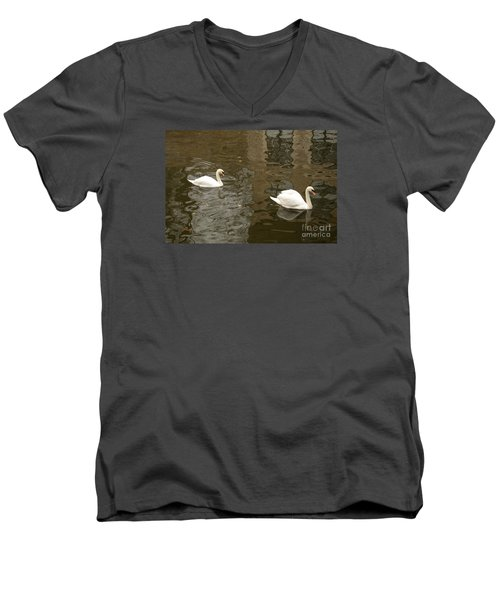 Men's V-Neck T-Shirt featuring the photograph A Pair Of Swans Bruges Belgium by Imran Ahmed