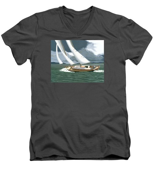 Men's V-Neck T-Shirt featuring the painting A Passing Squall by Gary Giacomelli