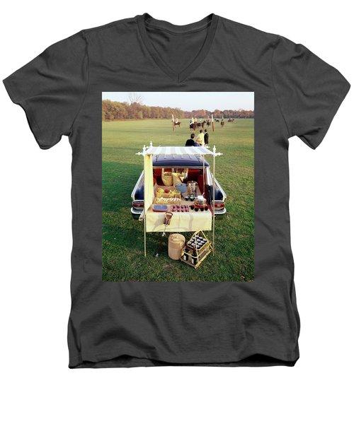 A Picnic Table Set Up On The Back Of A Car Men's V-Neck T-Shirt