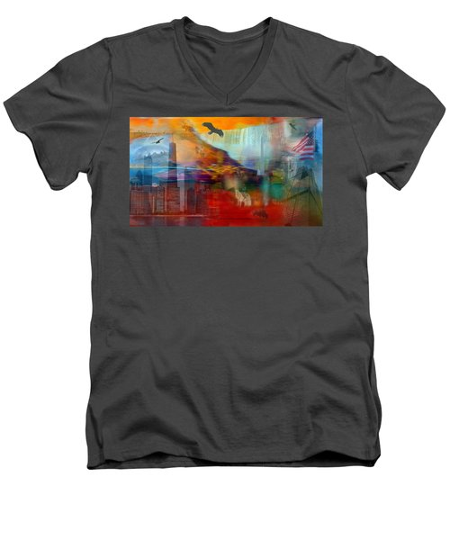 A Piece Of America Men's V-Neck T-Shirt by Randi Grace Nilsberg