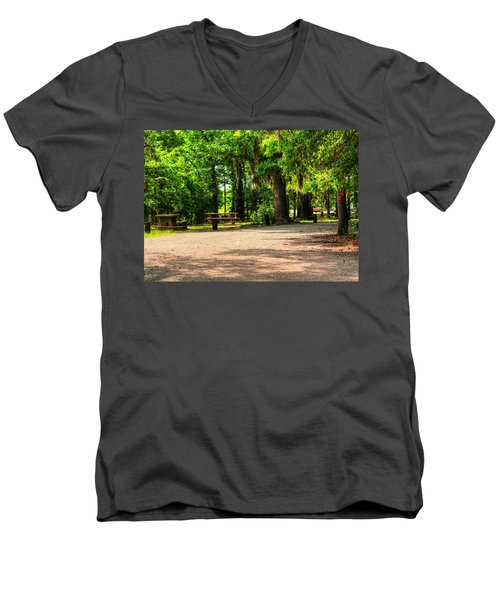 Men's V-Neck T-Shirt featuring the photograph A Place For Picnic by Ester  Rogers