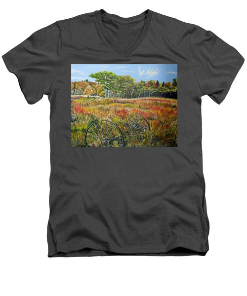 Men's V-Neck T-Shirt featuring the painting A Prairie Treasure by Marilyn  McNish