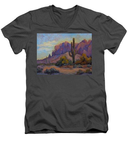 A Proud Saguaro At Superstition Mountain Men's V-Neck T-Shirt